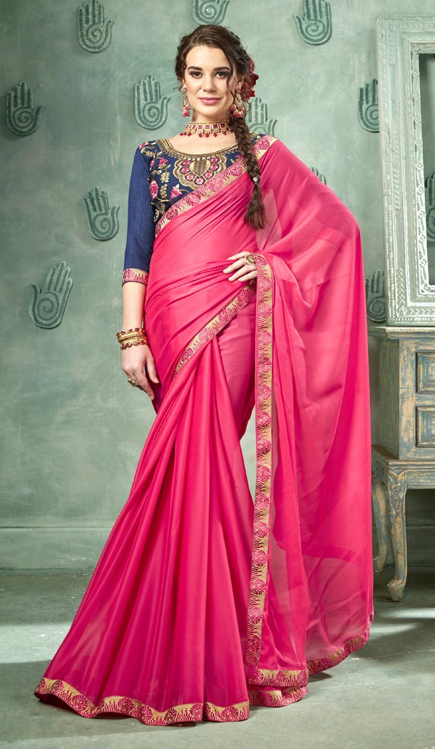 Pink Color 60 Grams Georgette Casual Wear Saree Blouse - 425851754