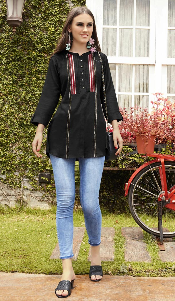 Ethnic Black Color Rayon Embroidery Casual Wear Short Kurti