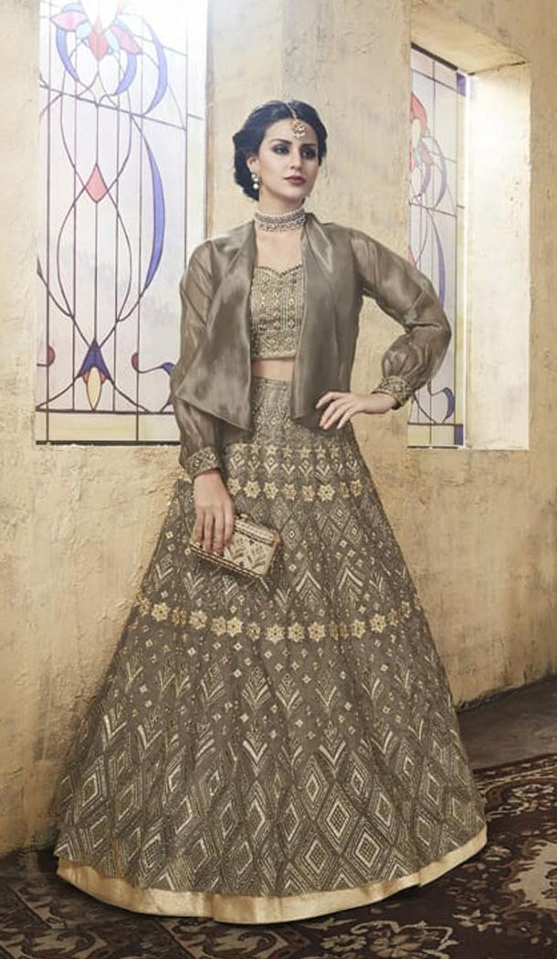 Sage Color Net Heavy Embroidery Designer Lehenga Choli - 431152701