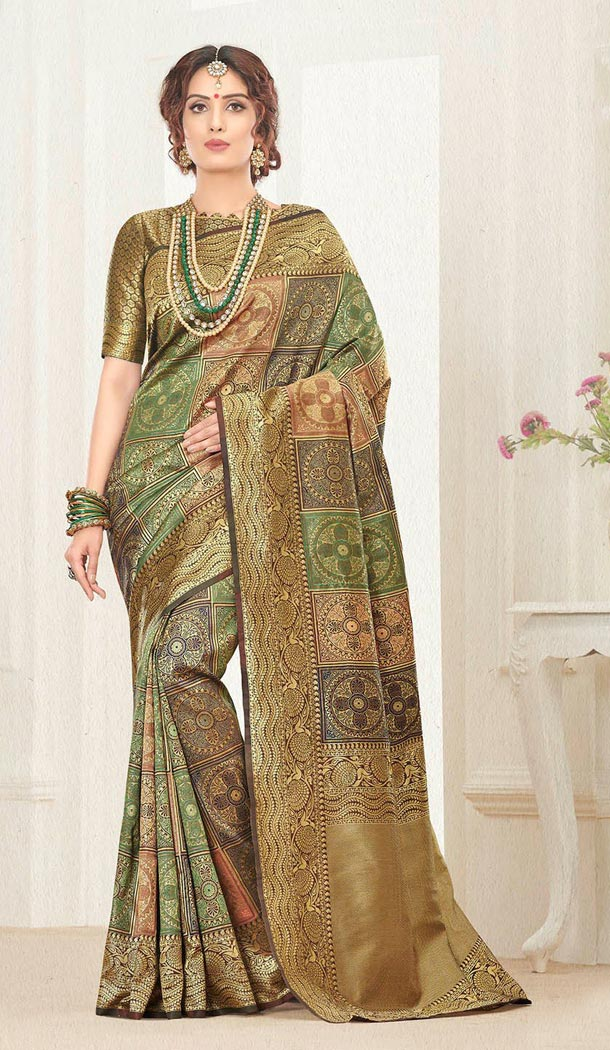 Gold Color Silk Jacquard Traditional Wear Saree with Blouse - 429752550