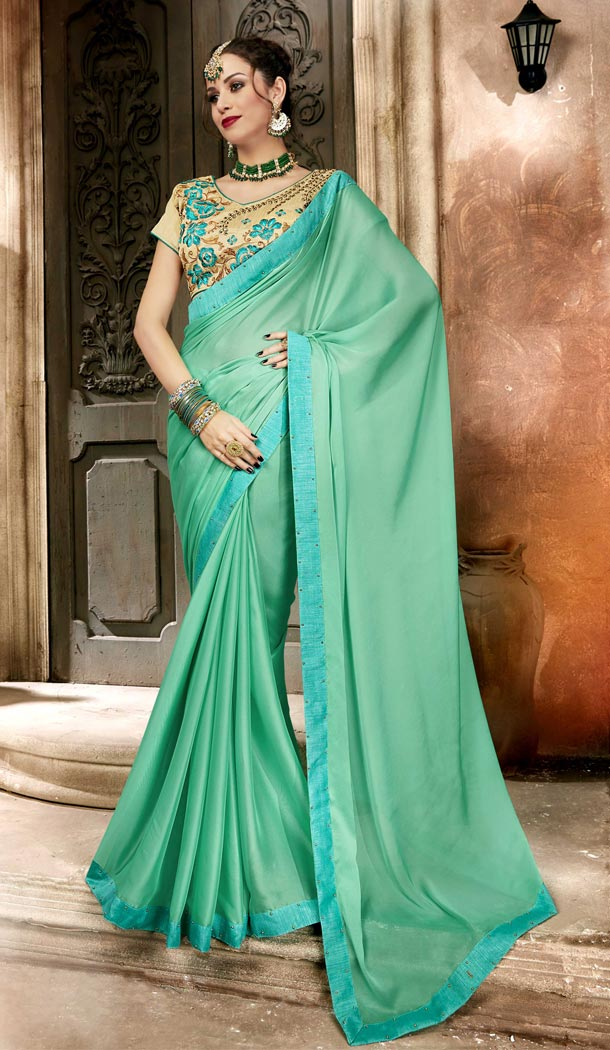 Aqua Green Color Georgette Casual Day Wear Saree With Blouse - 433753025