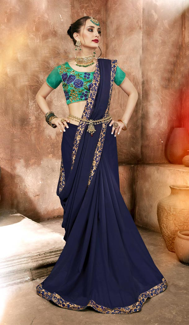 Navy Blue Color Georgette Casual Day Wear Saree With Blouse - 433753030