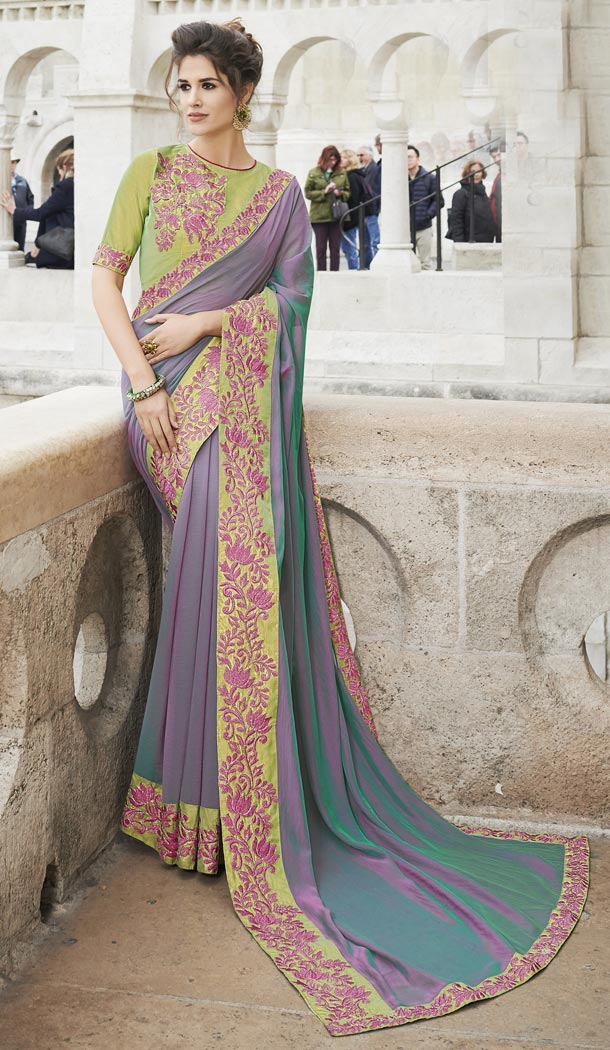 Two Tone Purple Color Georgette Party Wear Saree with Blouse - 436153305