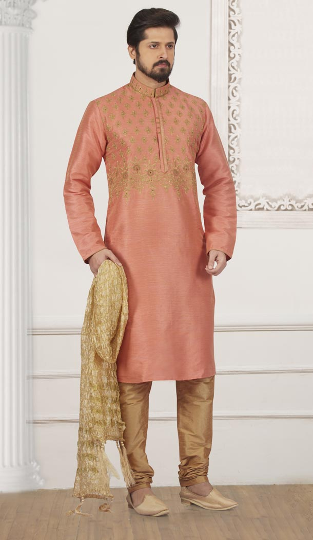 Alluring Peach Color Art Banarasi Silk Mens Readymade Kurta And Pyjama - 433953056