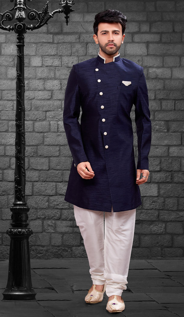 Navy Blue Color Imported Silk Designer Indo Western Mens Wear - FHRTVol4-405