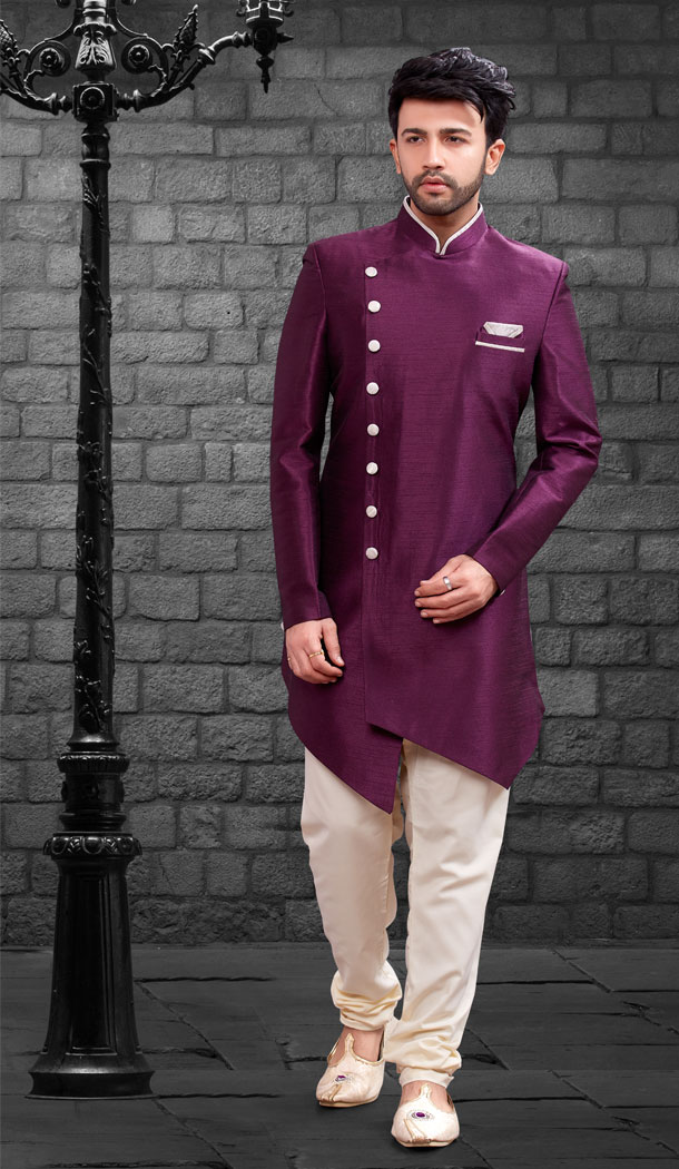 Wine Color Imported Silk Designer Indo Western Mens Wear - FHRTVol4-406