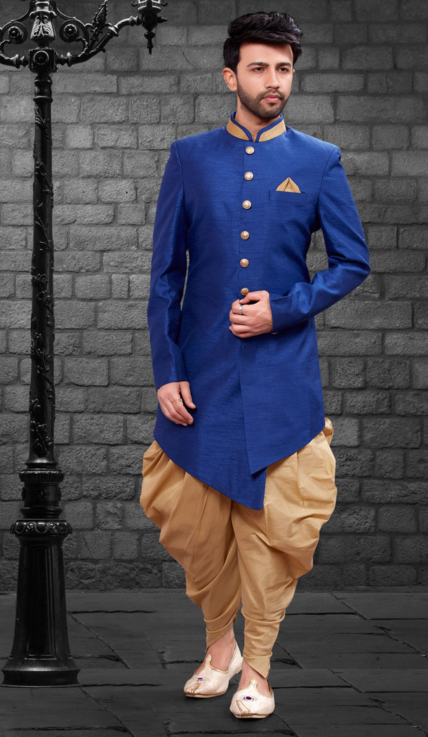 Royal Blue Color Imported Silk Designer Indo Western Mens Wear - FHRTVol4-407