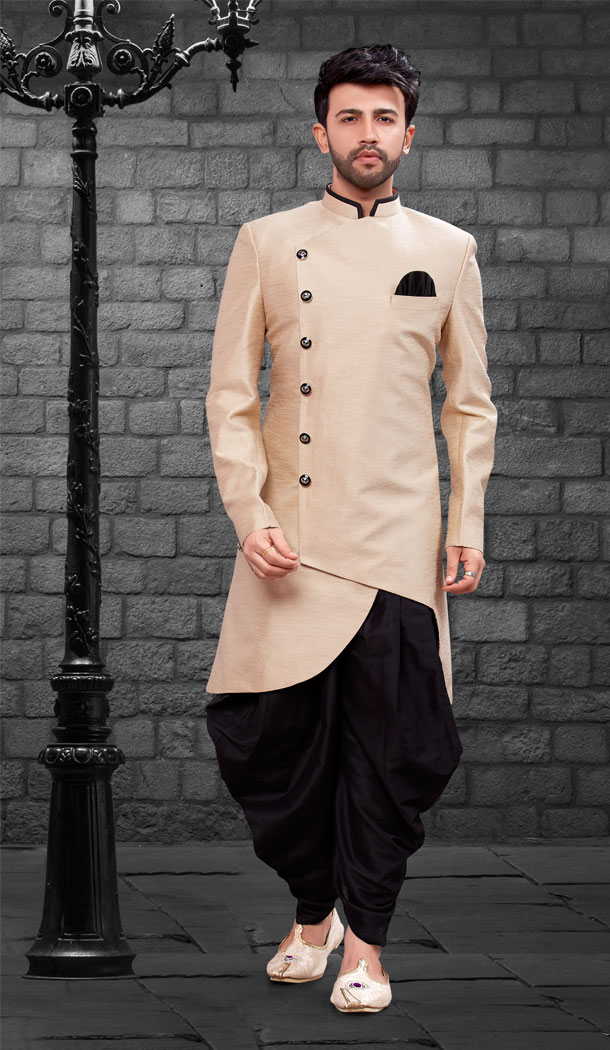 Lite Gold Color Imported Silk Designer Indo Western Mens Wear - FHRTVol4-408