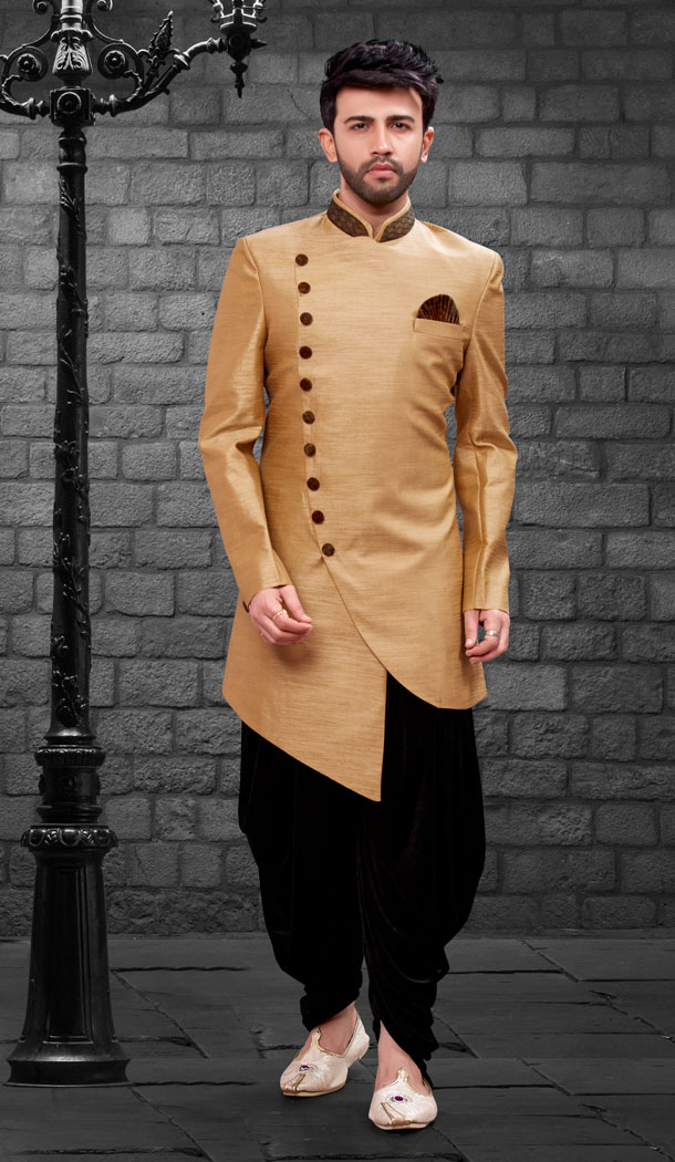 Beige Color Imported Silk Designer Indo Western Mens Wear - FHRTVol4-409