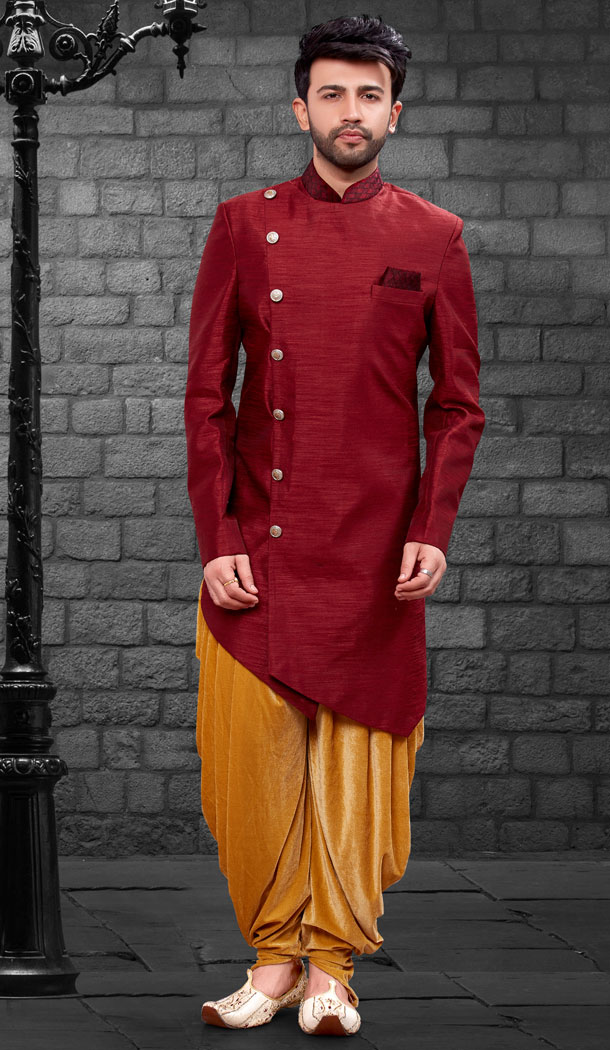Maroon Color Imported Silk Designer Indo Western Mens Wear