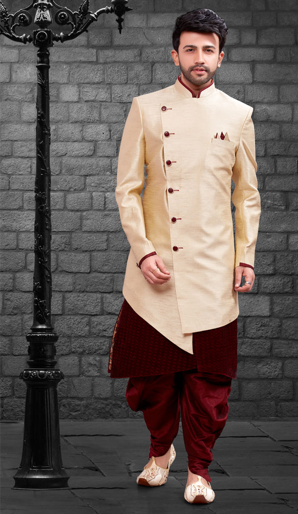 Cream Color Imported Silk Designer Indo Western Mens Wear - FHRTVol4-412