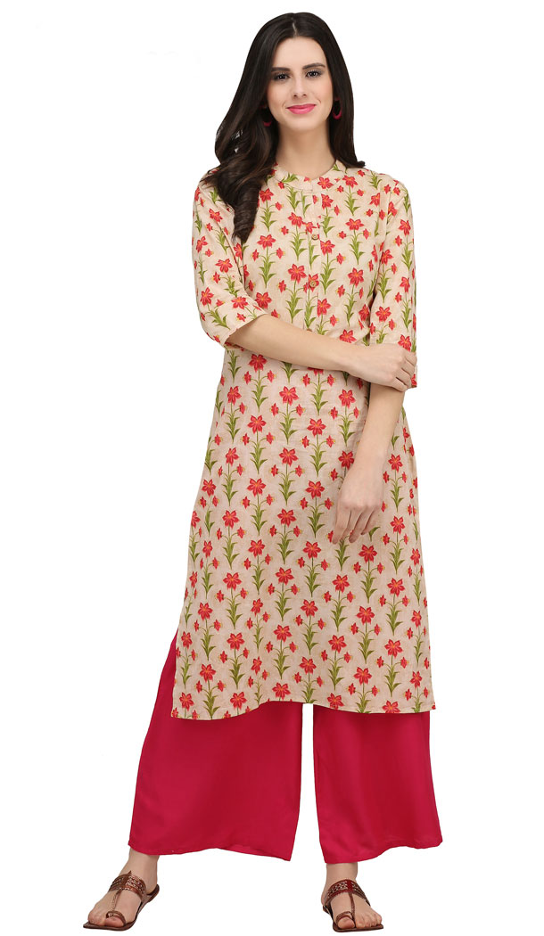 Tranquil Cream Color Cotton Casual Wear Readymade Printed Kurti - 444254319