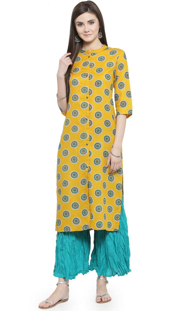 Yellow Color Rayon Casual Wear Readymade Printed Kurti - 444254322