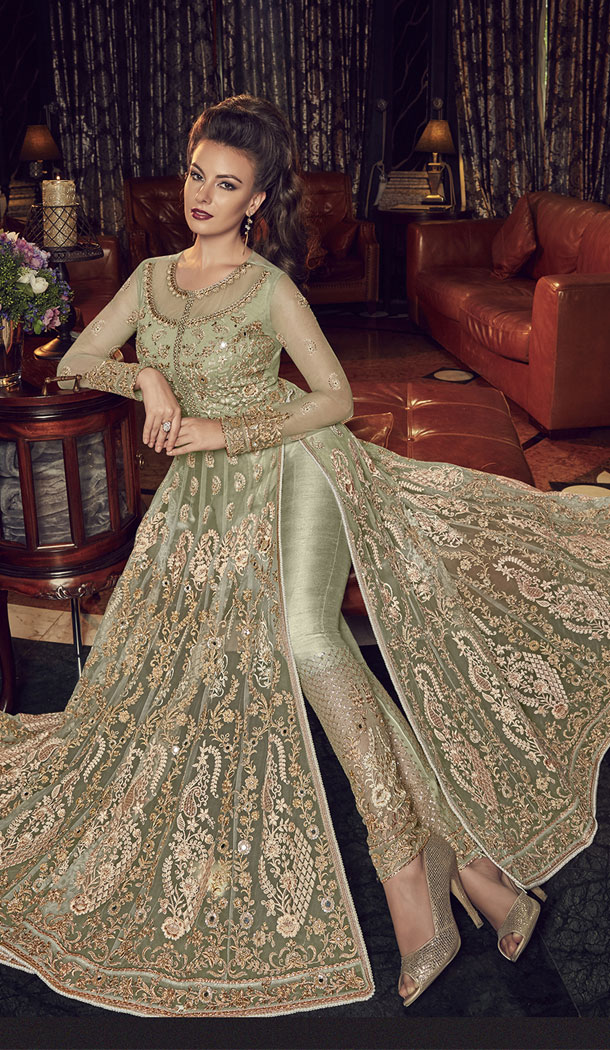 Pista Color Premium Net Designer Knee Length Salwar Kameez - 445654548