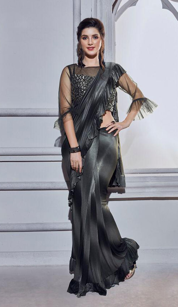 Black Color Fancy Designer Readymade Saree Blouse - 446254673