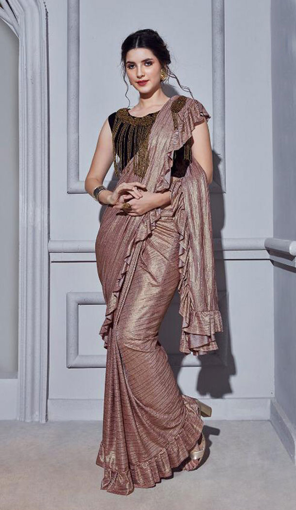 Rosy Brown Color Fancy Designer Readymade Saree Blouse - 446254674