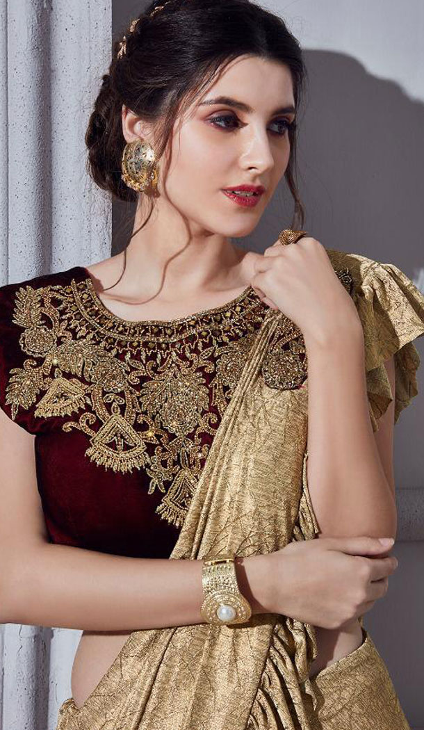 Golden Color Fancy Designer Readymade Saree Blouse - 446254676