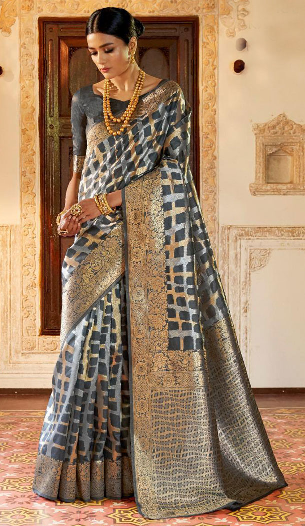 Grey Color Kansula Silk Designer Traditional Wear Saree With Blouse - 451055192