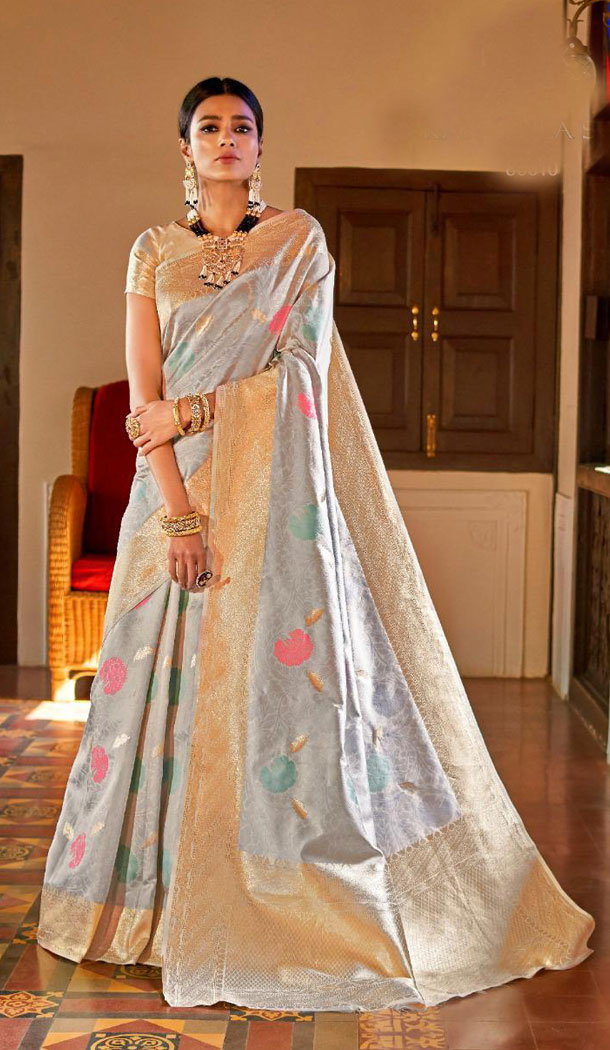 Silver Color Kansula Silk Designer Traditional Wear Saree With Blouse - 451055201