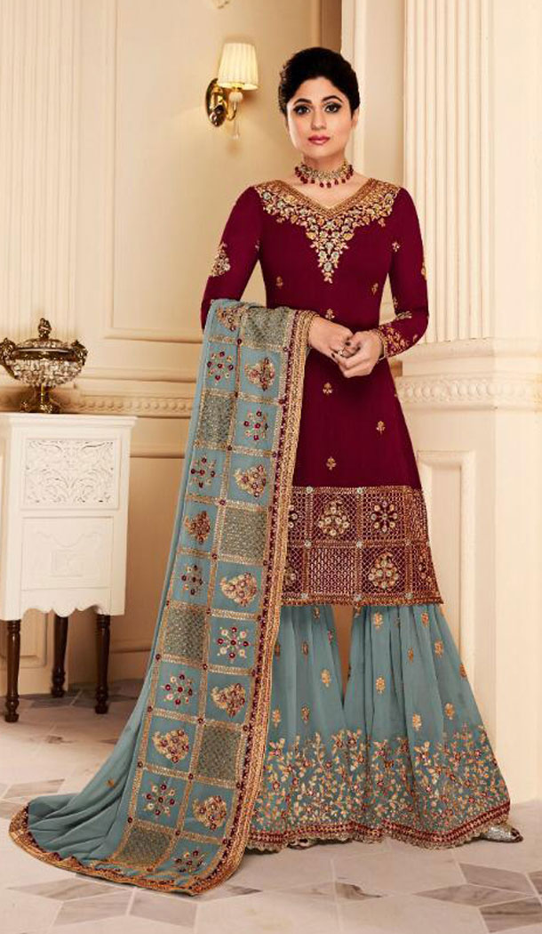 Shilpa Shetty Kundra Maroon Color Georgette Sharara Suit - 451155208