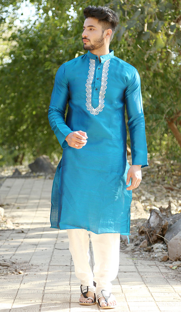 Rama Blue Color Fancy Silk Eid Wear Readymade Men Kurta Payjama - 445854588
