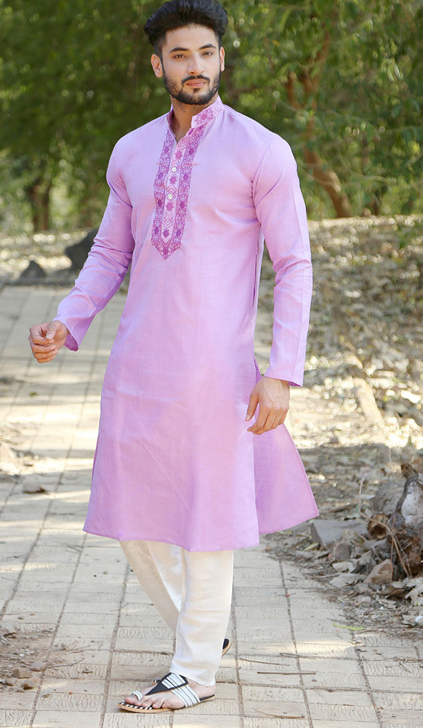 Light Purple Color Polyester Cotton Eid Wear Readymade Men Kurta Payjama - 445854590