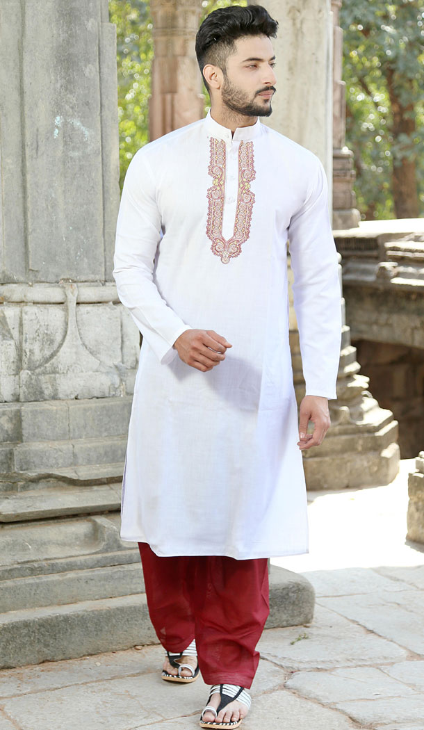 White Color Polyester Cotton Eid Wear Readymade Men Kurta Payjama - 445854593