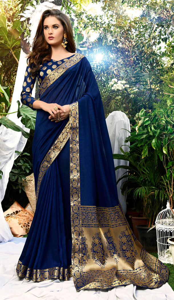 Navy Blue Color Vichitra Silk Casual Party Wear Sarees With Blouse - 451355220