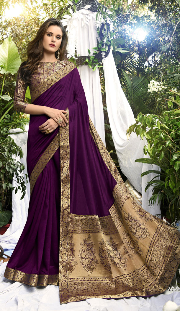 Purple Color Vichitra Silk Casual Party Wear Sarees With Blouse - 451355223