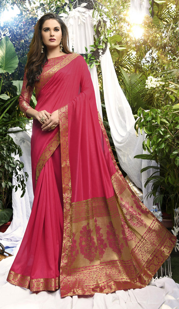 Cerise Color Vichitra Silk Casual Party Wear Sarees With Blouse - 451355225