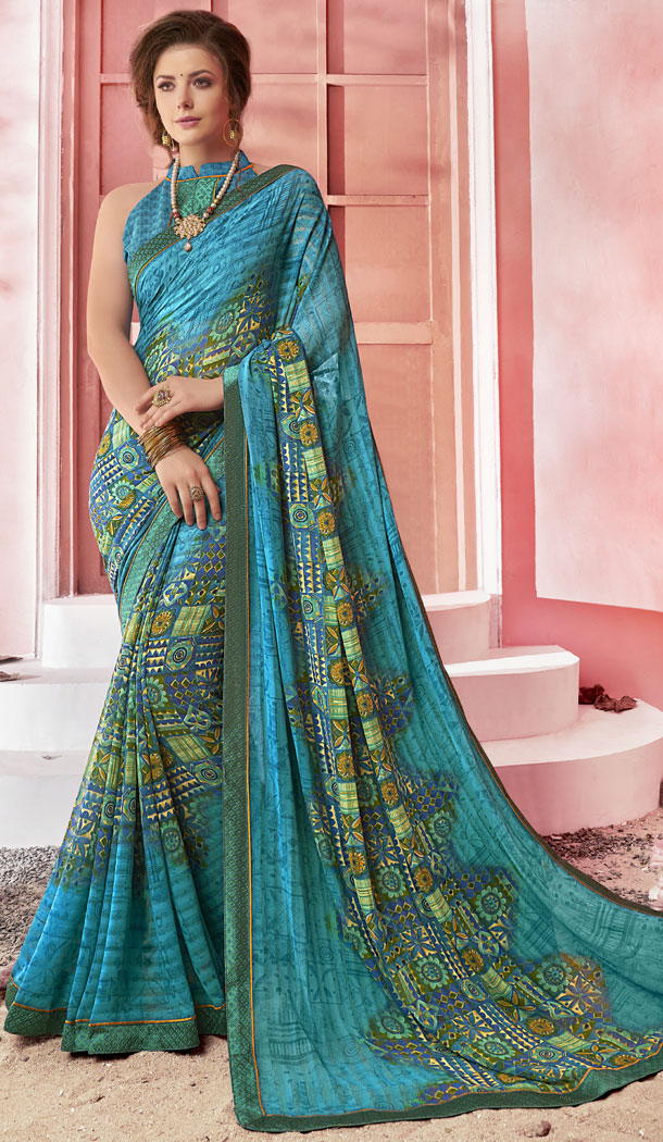 Ethnic Pale Blue Color Major Georgette Fancy Printed Saree - 452255452