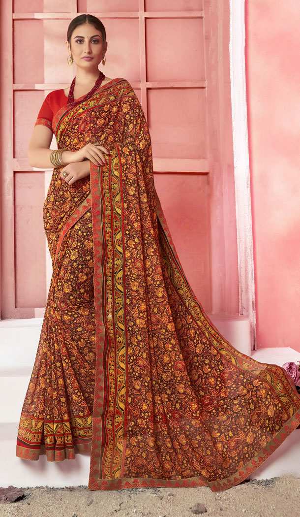 Attractive Brown Color Major Georgette Fancy Printed Saree - 452255453