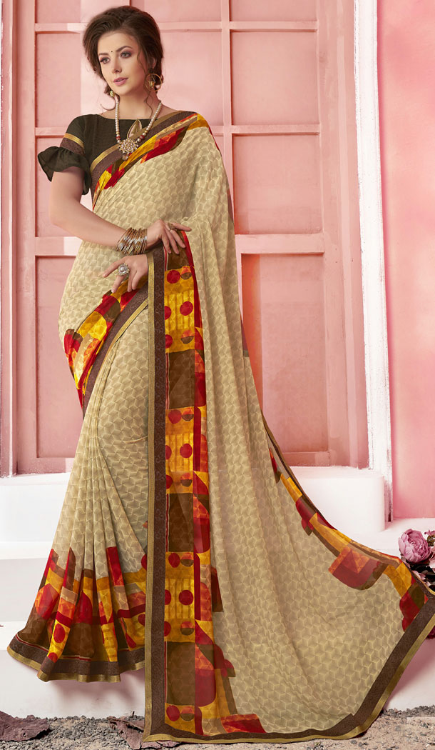 Beige Color Major Georgette Fancy Printed Saree - 452255455