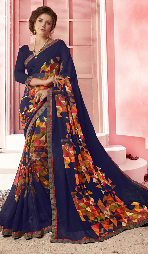 Navy Blue Color Major Georgette Fancy Printed Saree - 452255457