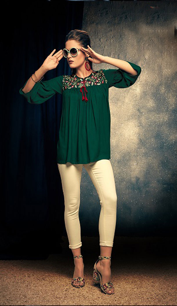Green Color Rayon Fancy Casual Wear Readymade Short Top - 445454533