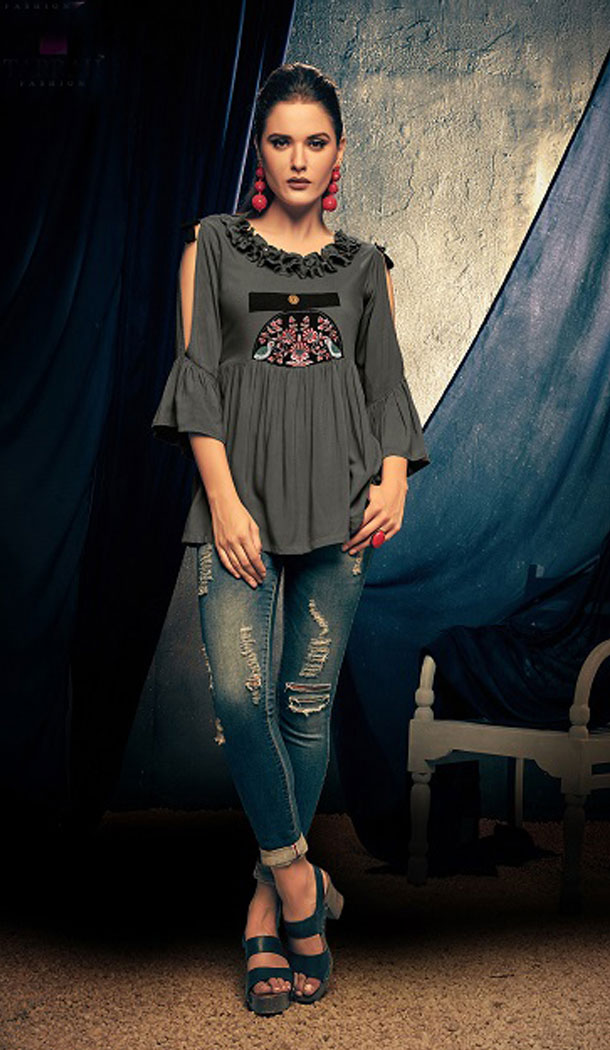 Grey Color Rayon Fancy Casual Wear Readymade Short Top - 445454539