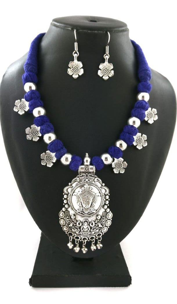 Amazing Oxidized German Silver Thread Neck Less Set With Earring - 454155718