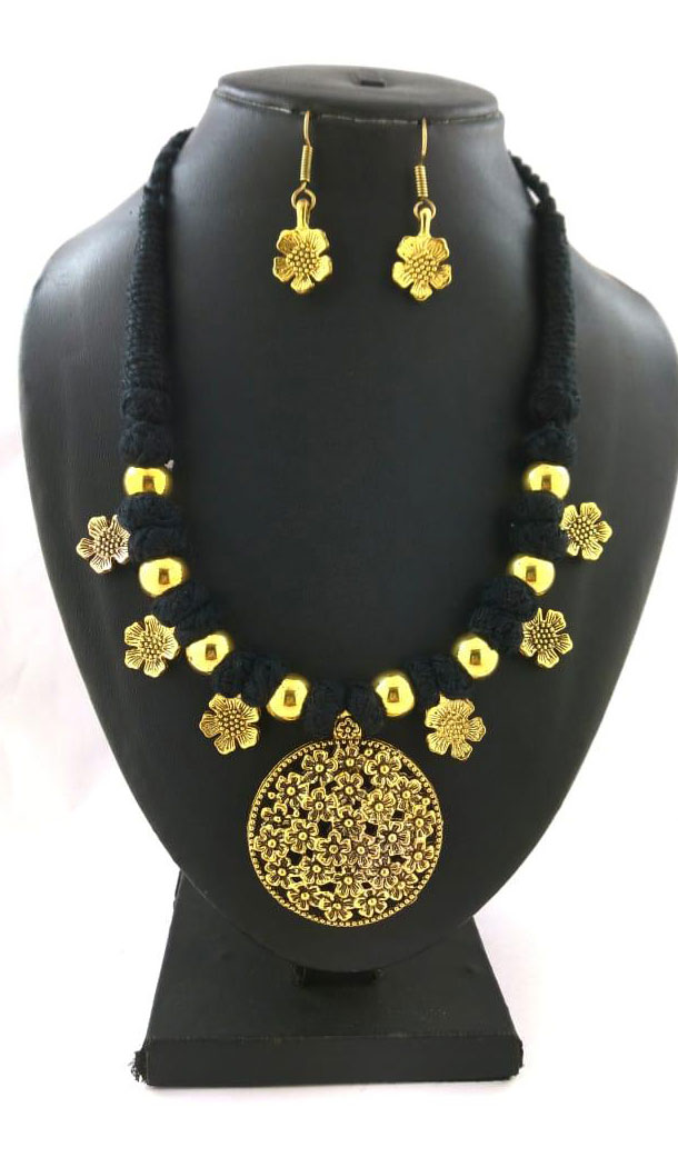 Oxidized German Silver Thread Neck Less Set With Earring - 454155737