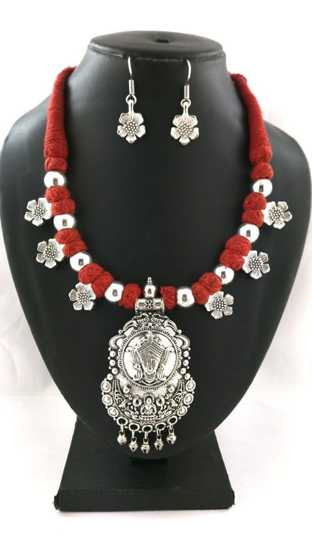 Oxidized German Silver Thread Neck Less Set With Earring - 454155738