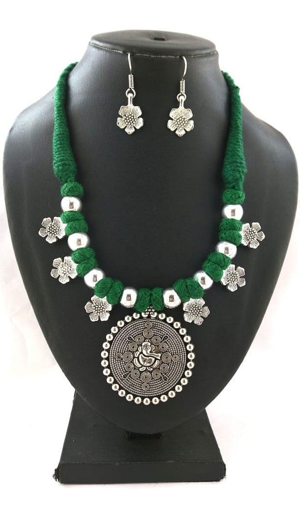 Oxidized German Silver Thread Neck Less Set With Earring - 454155739
