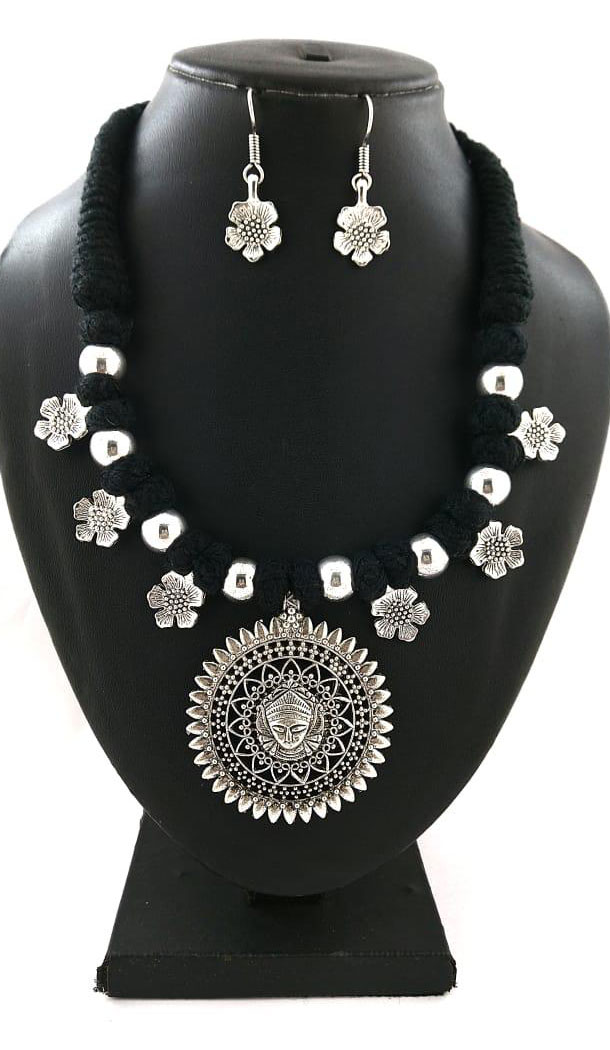 Oxidized German Silver Thread Neck Less Set With Earring - 454155742