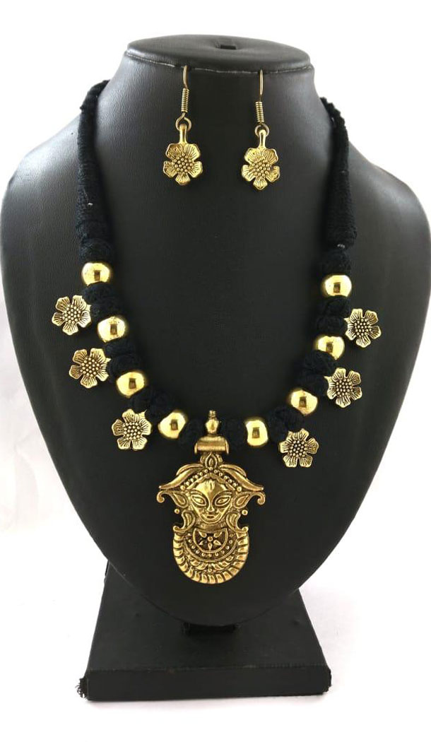 Oxidized German Silver Thread Neck Less Set With Earring - 454155744