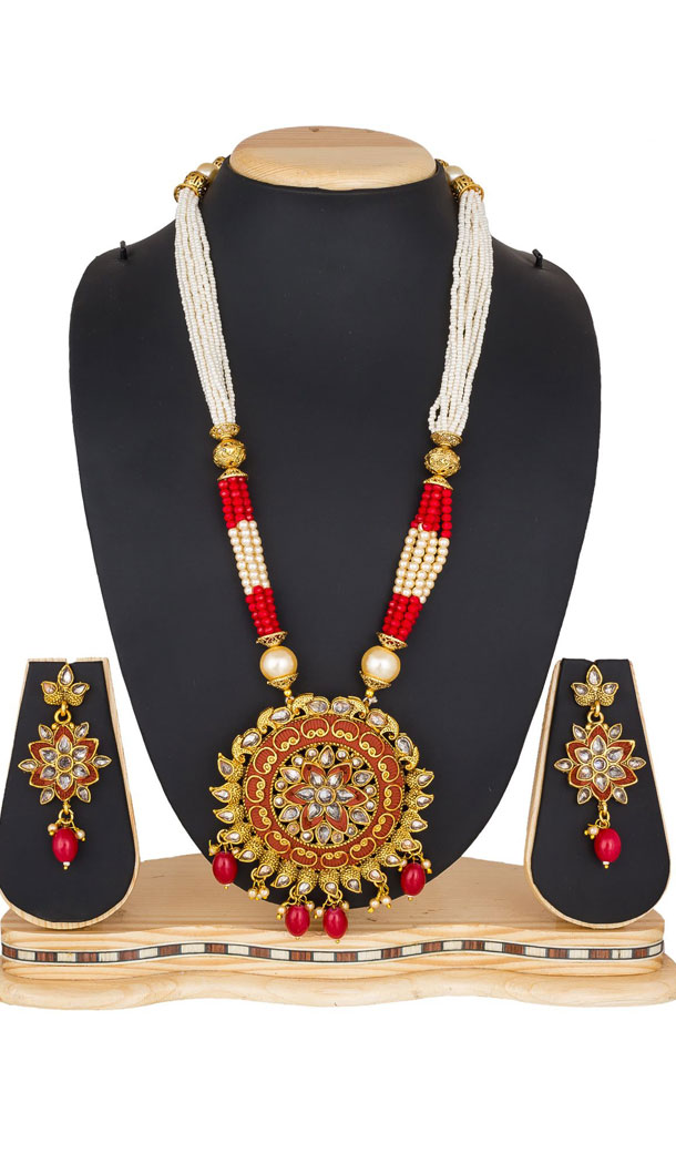 Aesthetic Multi Color Moti Pendant Necklace Jewellry Set - 461756850