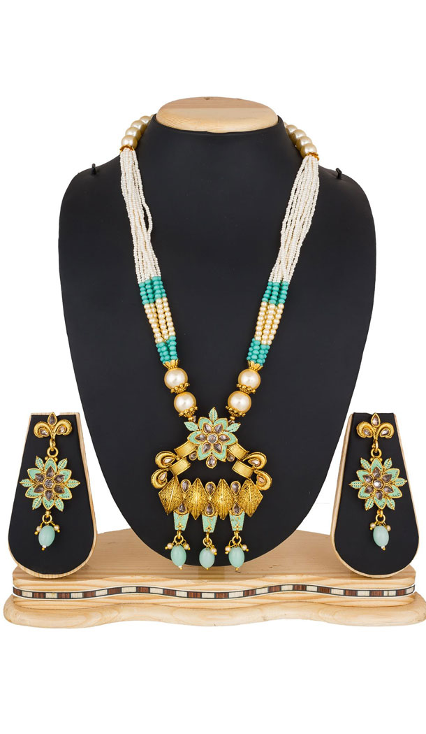 Aesthetic Multi Color Moti Pendant Necklace Jewellery Set - 461756857