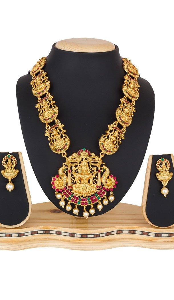 Scintillating Golden Color Pendant Necklace Jewellery Set - 461756859