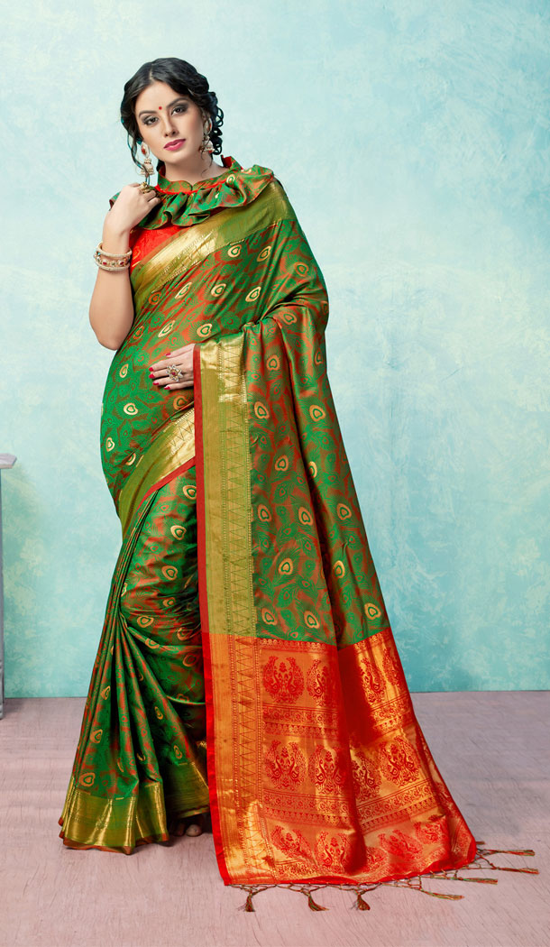 Green And Red Color Banarasi Art Silk Traditional Plus Size Saree Blouse