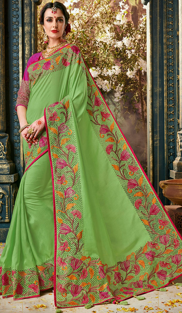 Green Color Silk Embroidery Party Wear Plus Size Sari Blouse