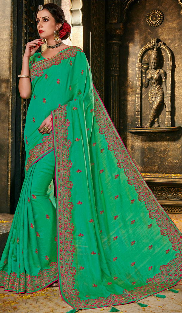 Green Color Silk Embroidery Party Wear Plus Size Sari Blouse - 462757010