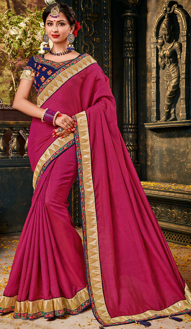 Pink Color Silk Embroidery Party Wear Plus Size Sari Blouse