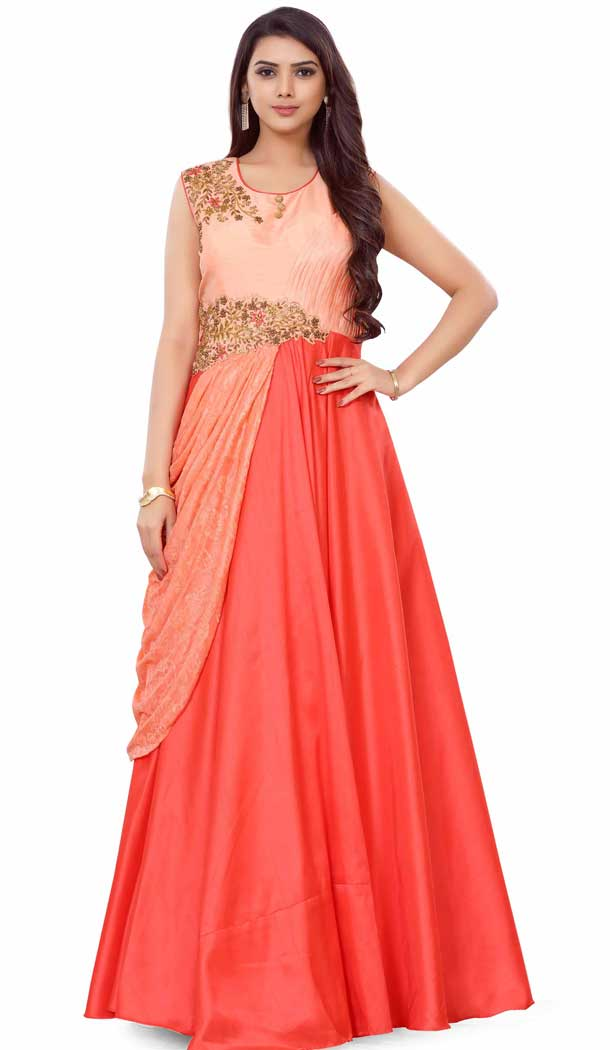 Reddish With Peach Color Net Designer Readymade Gown Suit - 475858472